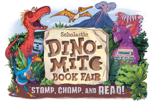 book fair dinosaur logo