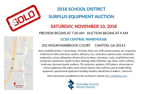 2018 CCSD Surplus Auction November 10 - 9 am