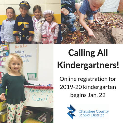 Calling All Kindergartners - online registration for 2019-20 begins Jan 22