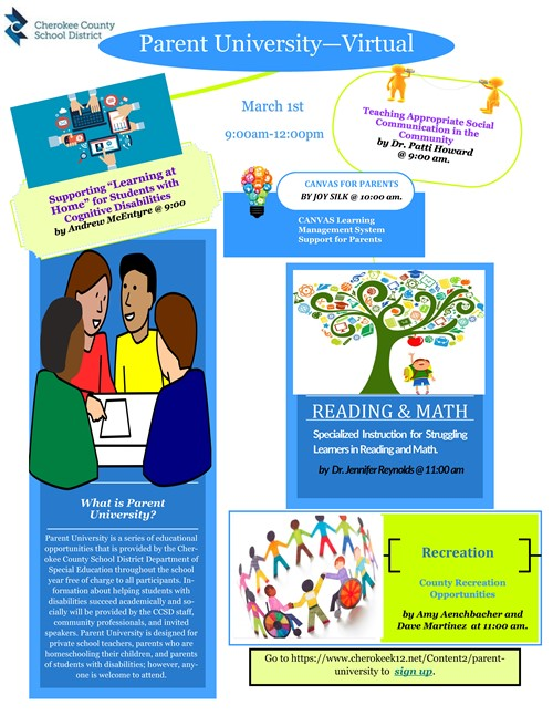 CCSD Special Education Parent University - Virtual event 9-12 March 1