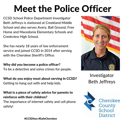 meet the officer Creekland MS - Beth Jeffreys 10 1 19