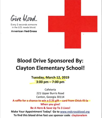 Red Cross Blood Drive Announcement