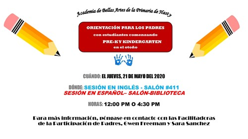 PreK and K orientation Spanish