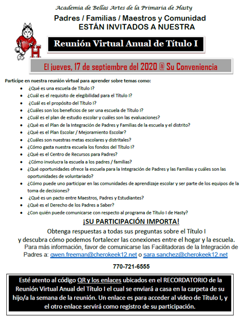 title I virtual meeting Spanish