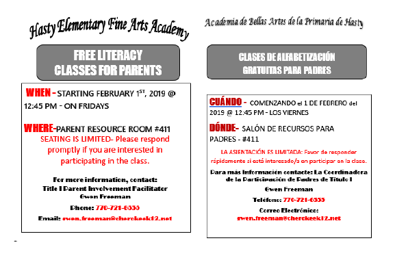 Parent Literacy classes
