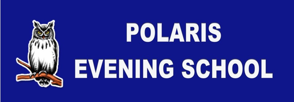 Polaris Evening School title slide with owl