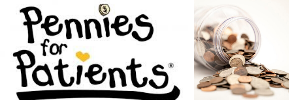 Pennies for Patients logo and image of a jar of coins