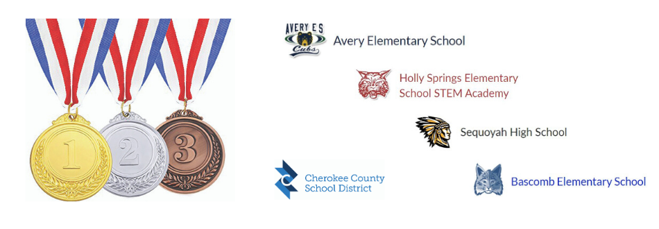 medals and school logos