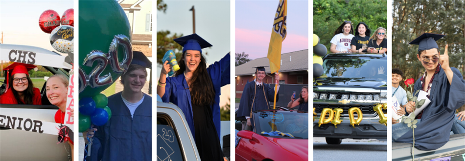 high school graduates in parades across their campus