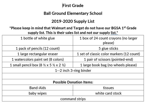 First Grade Supply List picture