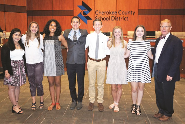 Superintendent of Schools Dr. Brian V. Hightower congratulates the 2018-19 Student Advisor and Student Delegates; from left to right: Jessica Rios of ACE Academy; Angelica Millen of River Ridge HS; Natasha Ambriz-Villela of Sequoyah HS; Student Advisor Chase Thomas of Etowah HS; Blake Adkins of Woodstock HS; Morgan Feltham of Cherokee HS; Ann Blakey of Creekview HS.
