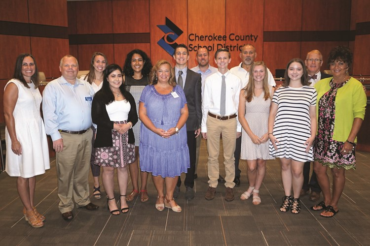 The Cherokee County School Board and Superintendent of Schools Dr. Brian V. Hightower congratulate the 2018-19 Student Advisor and Student Delegates; from left to right: Angelica Millen of River Ridge HS; Jessica Rios of ACE Academy; Natasha Ambriz-Villela of Sequoyah HS; Student Advisor Chase Thomas of Etowah HS; Blake Adkins of Woodstock HS; Morgan Feltham of Cherokee HS; Ann Blakey of Creekview HS.