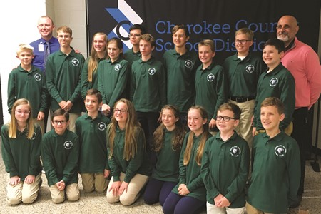 Creekland Middle School's team, from left to right, front row: Abigail Moore, Harry Dellapenna, Ella Phillips, Amelia Babcock, Maile Rawley, Jake Absher, Matthew Niles; back row: Ryan Chase, Carter Canfield, Elizabeth Walters, Searlait Frey, Andres Klementzos, Levi Prater, Lake Rawley, Eli Greene, Jake Pillittere.