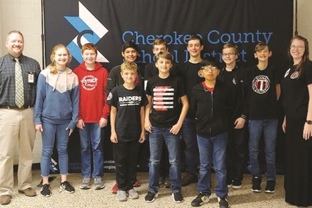 Teasley Middle School's team, from left to right: Elisabeth Waller, Jacob Waller, Shane Saulinskas, Mateo Tobar, Levi Smith, Owen Garity, Nick Whyte, Andre Perez, Martin Armbruster, Jordan Strong, Coach Deanna Phillips.