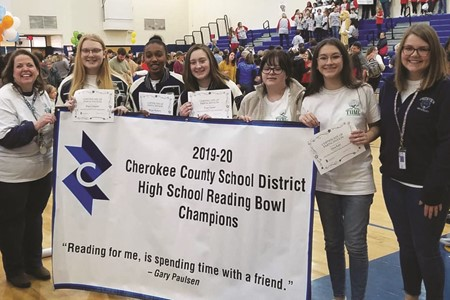 Creekview High School earned first place in the CCSD Reading Bowl high school division.  From left to right, Coach Nan Lanford, Abigail Gallagher, Morgan Mayberry, Grace Godwin, Rachel Payne, Elena Kubit, and Assistant Coach Faith Cowley.