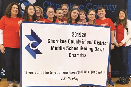 Freedom Middle School placed first in the CCSD Reading Bowl middle school competition.  From left to right, Coach Allison Cook, Leia Lankford, Coach Amanda Struchtemeyer, Lily Meredith, Chris Akers, Avery King, Cheyenne Buffkin, Jacob Tucker, Connor Gunkler, Megan McBride, Dillon Dailey, and Coach Amber Effner.  Not pictured: Thad Brake, Grace Dai, Annabeth Dudley, and Jacob Duncan.