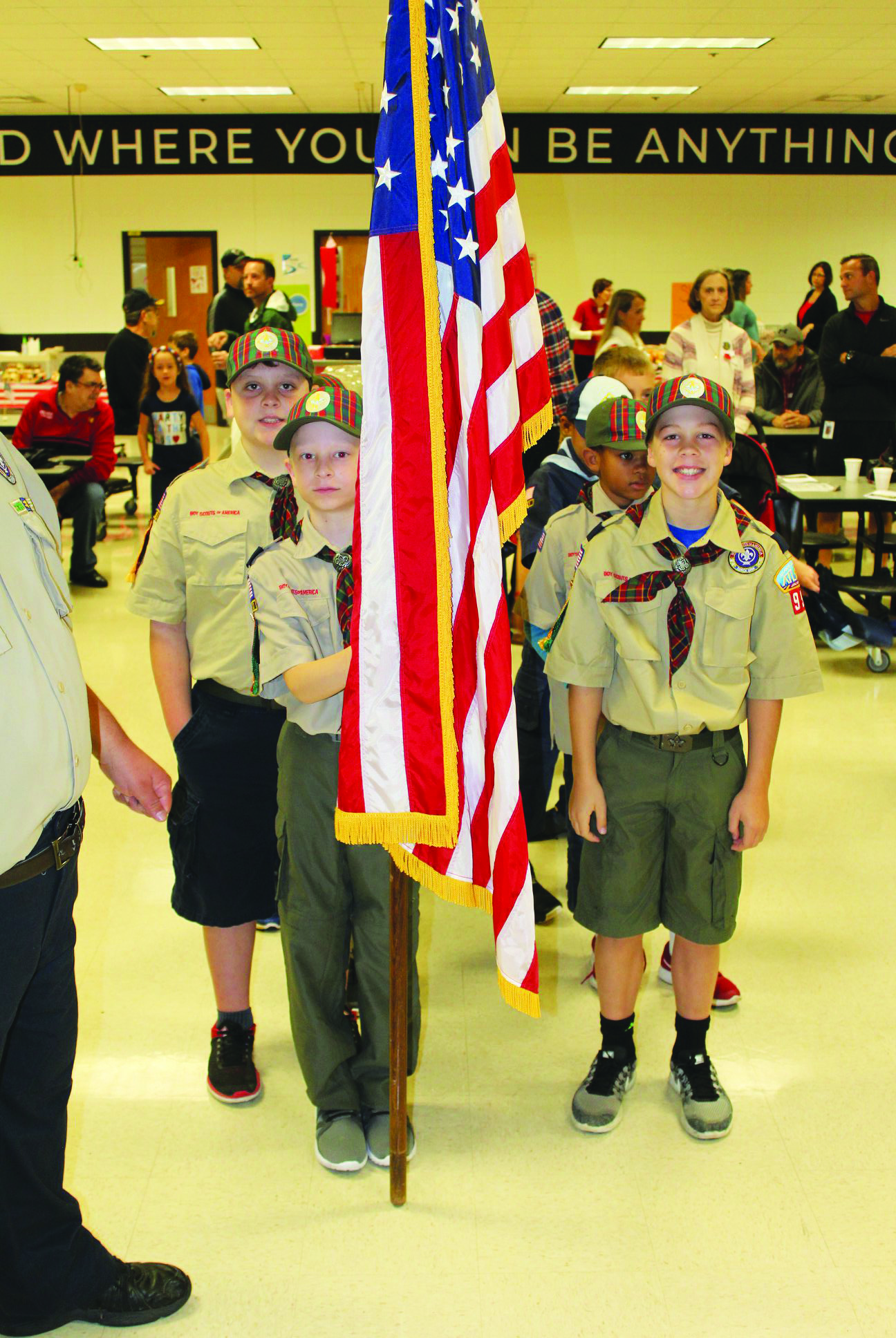 Boy Scouts from Bascomb ES present the colors at the school's Veterans Day breakfast.