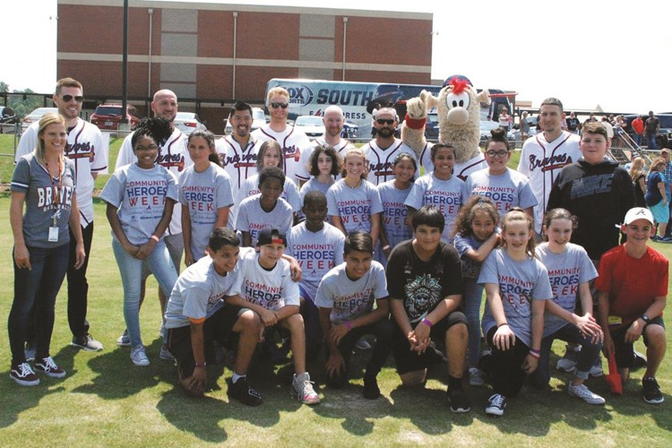 students with Braves players