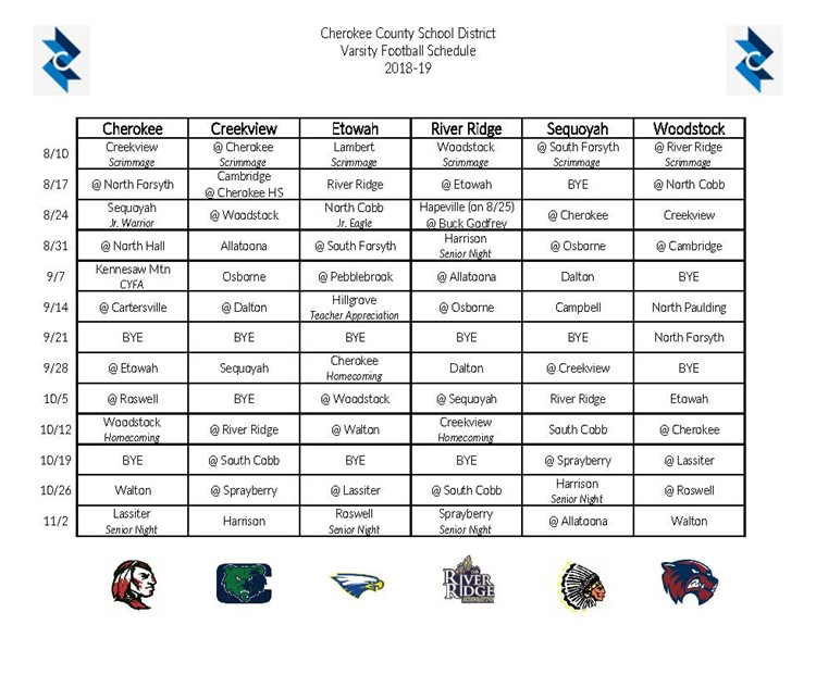 CCSD 2018 Master Football Schedule 08.21.18