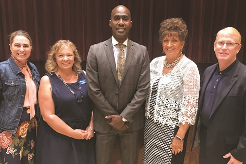 From left to right, School Board Vice Chair Kelly Poole, Chair Kyla Cromer, keynote speaker Dr. Tyrone Howard, Board member Patsy Jordan, and Superintendent of Schools Dr. Brian V. Hightower.