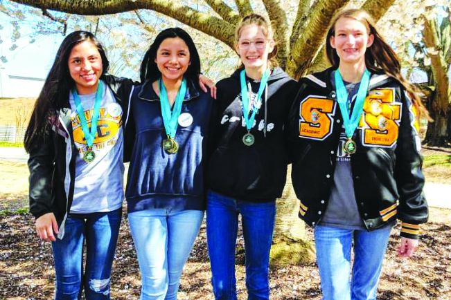 Sequoyah High School TomeCon winners are, from left to right, Itzel Fuentes, Bridget Gutierrez, Ashlyn George and Abby George.