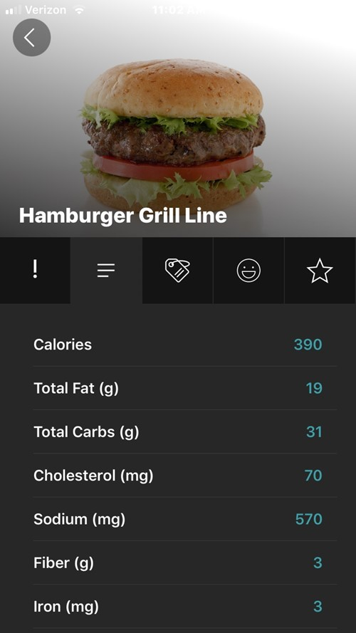 MealViewer menu item example