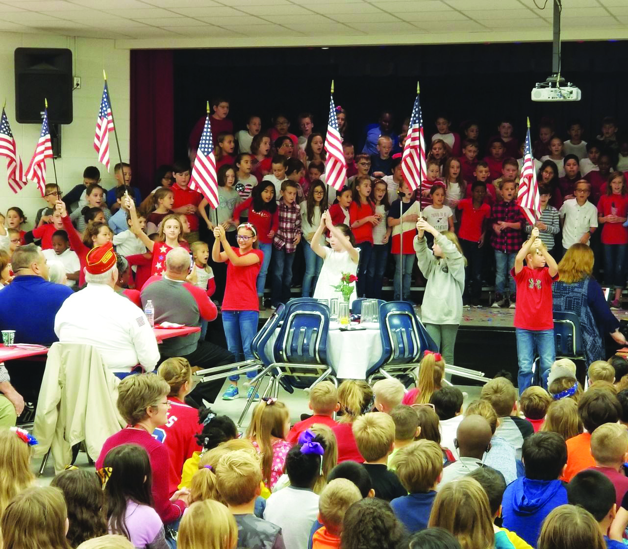 Mountain Road ES students salute veterans with a musical program.