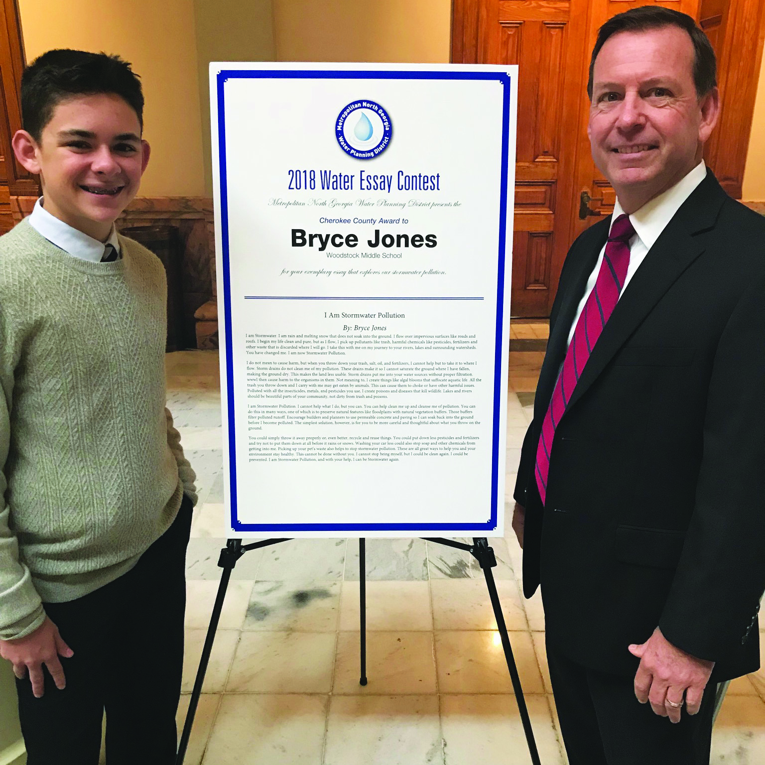 Bryce was joined at the ceremony by his family and Principal David Childress.