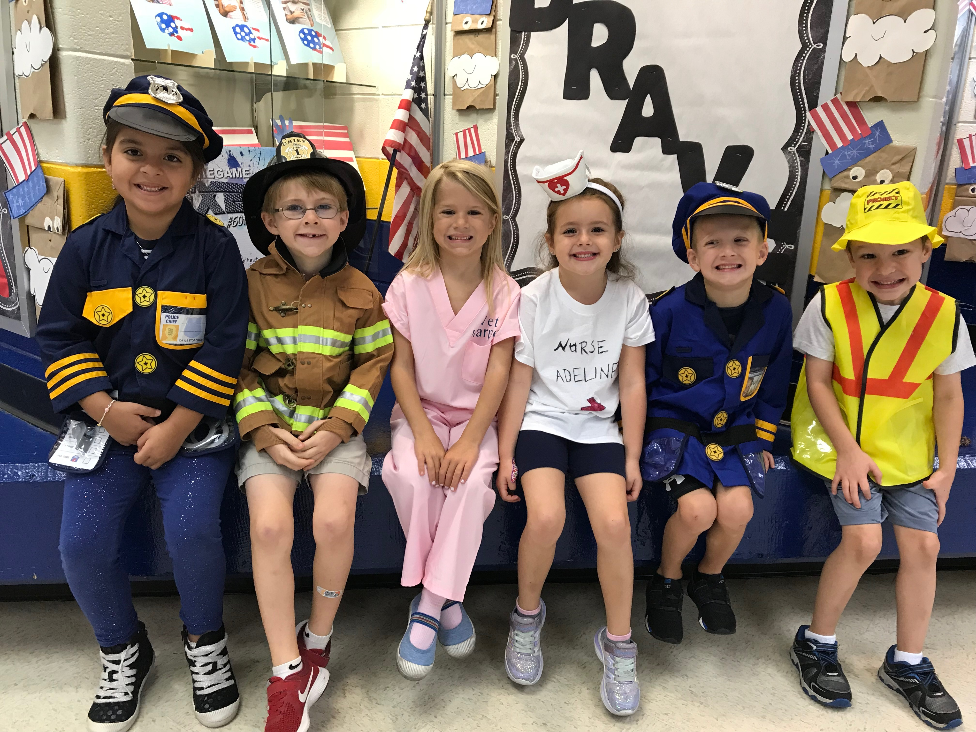 students dressed as community helpers